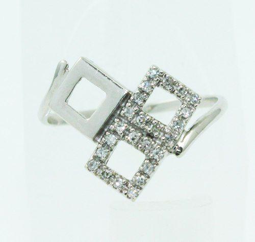 Anel De Ouro Branco 18k750 Diamantes 2354