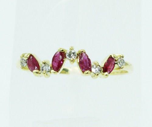 Anel De Ouro 18k750 Diamantes Rubi 1522