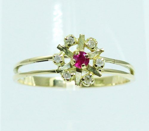 Anel De Ouro 18k750 Diamantes Rubi 1520