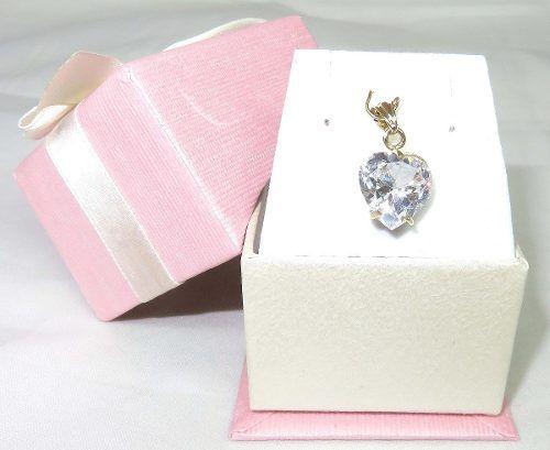 Pingente De Ouro 18k750 Coração Cristal P304