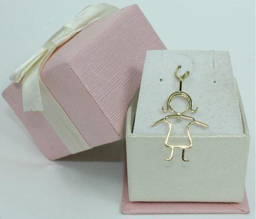 Pingente De Ouro 18k750 Menina Diamante P286