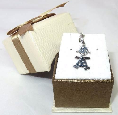 Pingente Ouro Branco 18k750 Menina Diamantes P269
