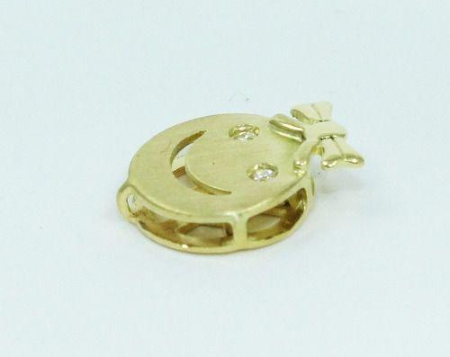 Pingente De Ouro 18k750 Carinha Diamantes P23