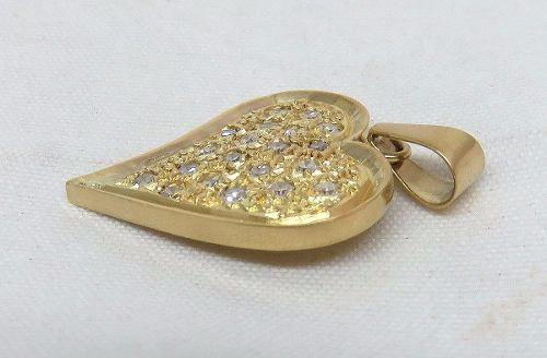 Pingente De Ouro 18k750 Coração Diamantes P192
