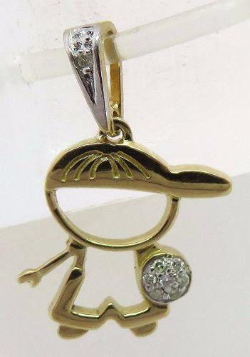 Pingente De Ouro 18k750 Menino Diamantes P69