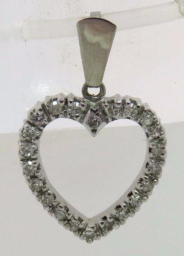 Pingente Ouro Branco 18k750 Coração Diamantes P163