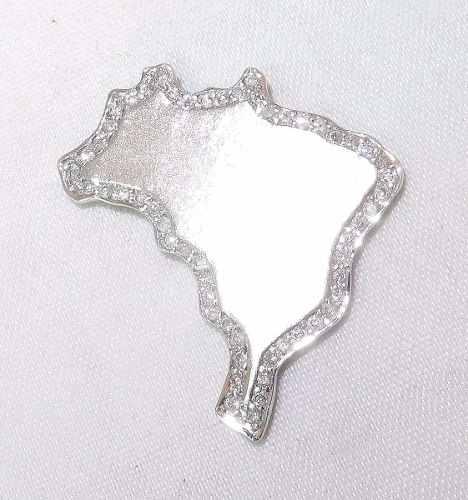 Pingente Ouro Branco 18k750 Brasil Diamantes P169