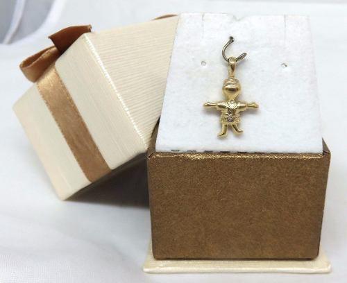 Pingente De Ouro 18k750 Menino Diamantes P46