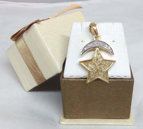 Pingente De Ouro 18k Estrela Lua Diamantes P186