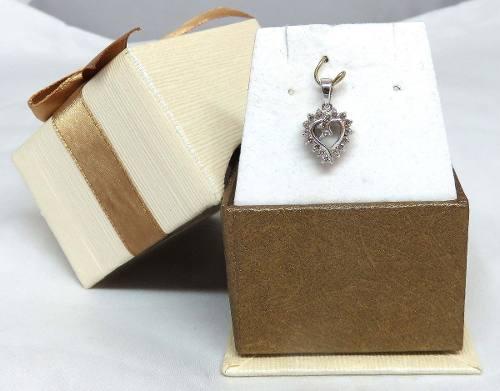 Pingente Ouro Branco 18k750 Coração Diamante P144