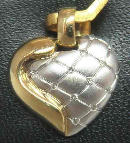 Pingente De Ouro 18k750 Coração Diamantes P124