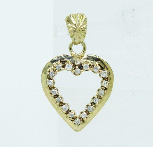 Pingente De Ouro 18k750 Coração Diamantes P53