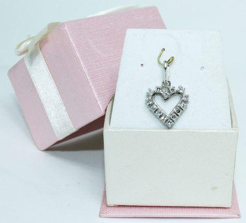 Pingente Ouro Branco 18k Coração Diamantes P179