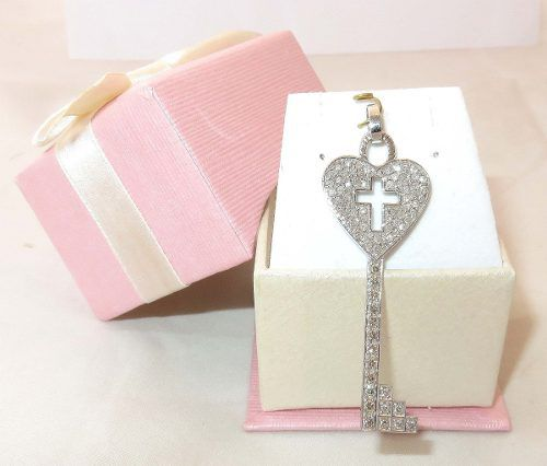 Pingente Ouro Branco 18k750 Chave Diamantes P243