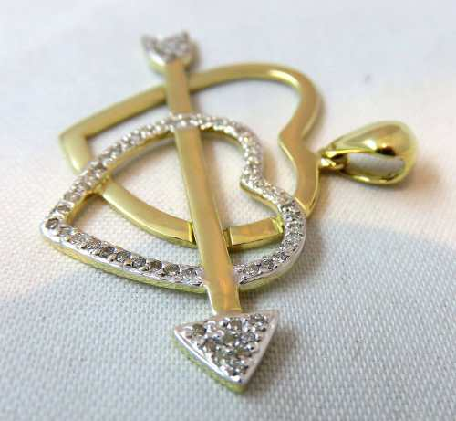 Pingente De Ouro 18k750 Corações Diamantes P171
