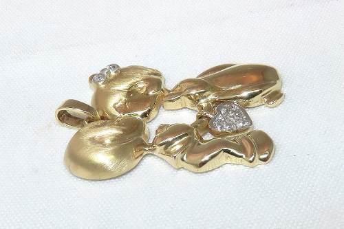Pingente Ouro 18k750 Casal Diamantes P236