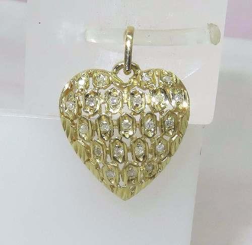 Pingente Ouro 18k750 Coração Diamantes P208