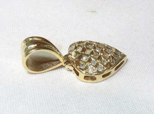 Pingente Ouro 18k750 Coração Diamantes P139