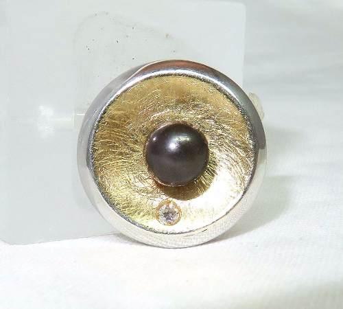 Pingente Ouro 18k750 Pérola Negra Diamante P240
