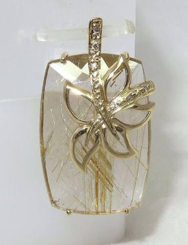 Pingente De Ouro 18k750 Cristal Rutilado P181