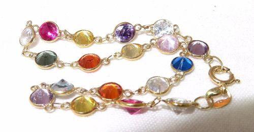 Pulseira De Ouro 18k750 Pedras Coloridas Pu25