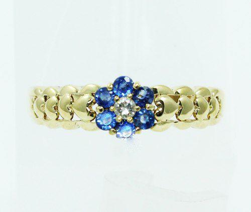 Anel De Ouro 18k750 Safiras Azuis Diamante 2373