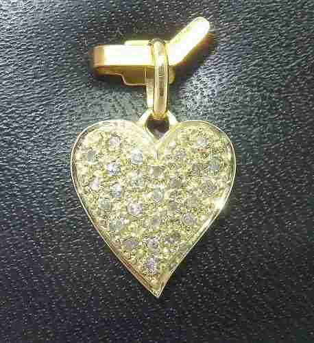 Pingente Ouro 18k750 Coração Diamantes P156