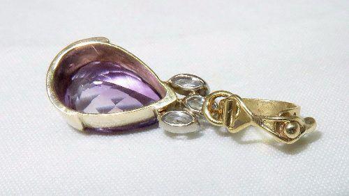 Pingente Ouro 18k750 Ametista Zircônias P239