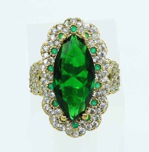 Anel De Prata Maciça 925 Turmalina Verde 15