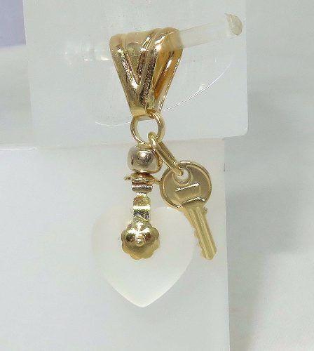 Pingente Ouro 18k Coração Chave Quartzo P210