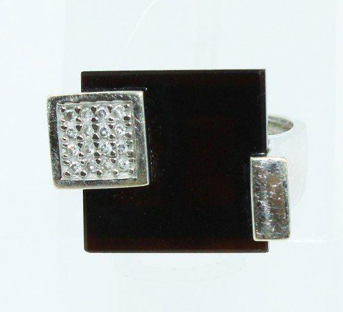 Anel De Ouro Branco 18k750 Diamante Ônix 2172