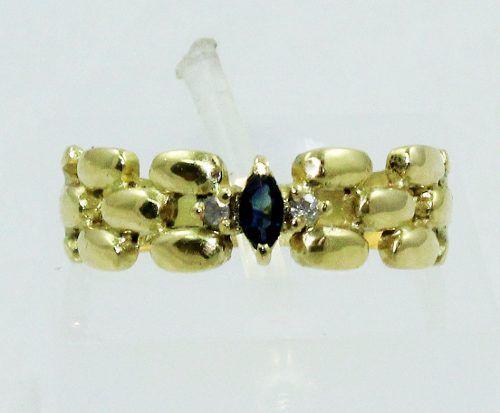Anel De Ouro 18k750 Diamantes Safira 1450