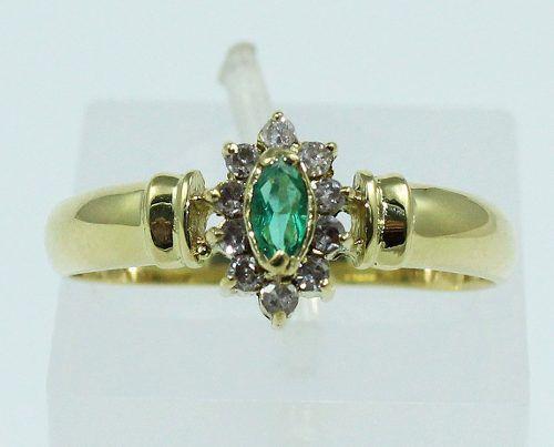 Anel De Ouro 18k750 Diamantes Esmeralda 1421