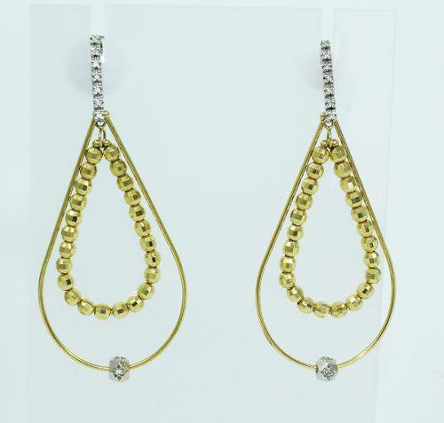 Brincos De Ouro 18k750 Diamantes B749