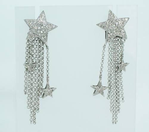 Brincos De Ouro Branco 18k750 Diamantes B746