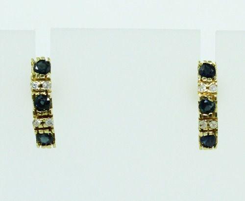 Brincos De Ouro 18k750 Diamantes Safira B747