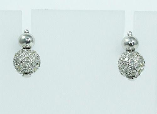 Brincos De Ouro Branco 18k750 Diamantes B745