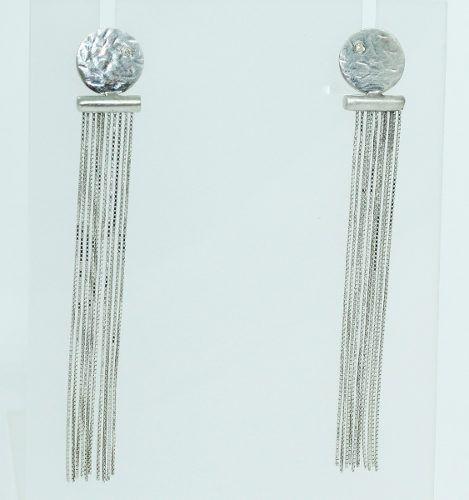 Brincos De Ouro Branco 18k750 Diamantes B744