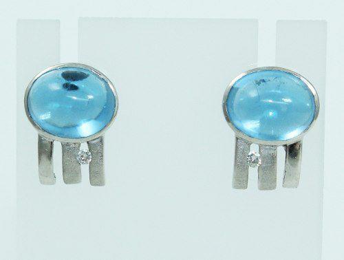 Brincos De Ouro 18k750 Diamantes Topázios B742
