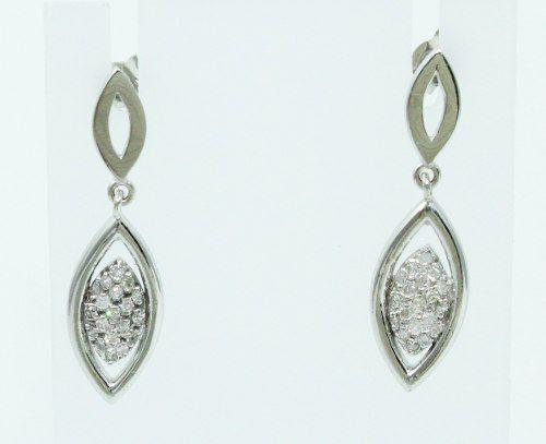 Brincos De Ouro Branco 18k750 Diamantes B734