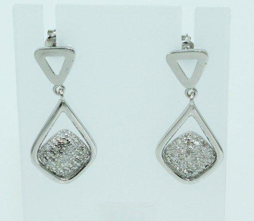 Brincos De Ouro Branco 18k750 Diamantes B729