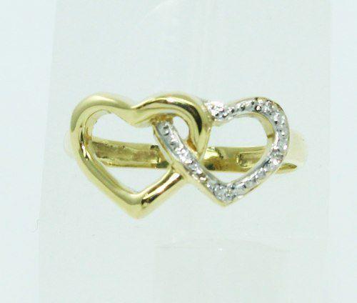 Anel De Ouro 18k750 Diamantes Corações 1439