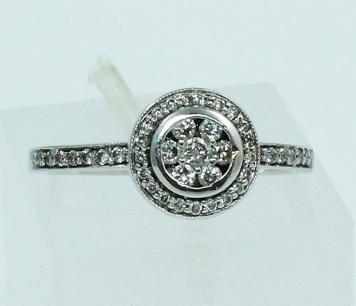 Anel De Ouro Branco 18k750 Diamantes 1409