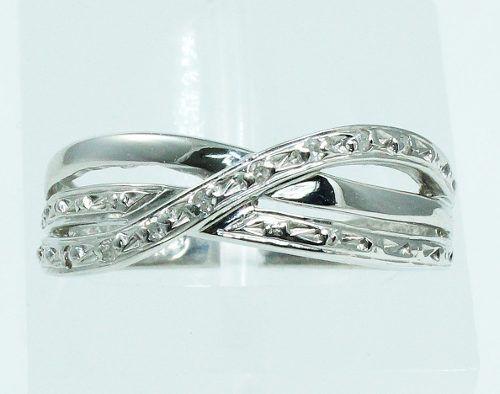 Anel De Ouro Branco 18k750 Diamantes 1398