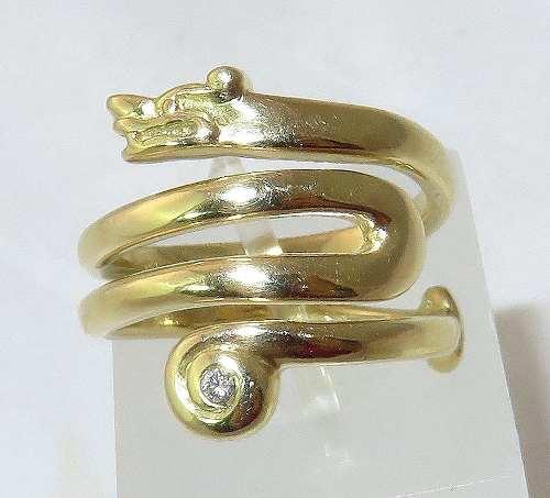 Anel De Ouro 18k750 Diamante Dragão 1360