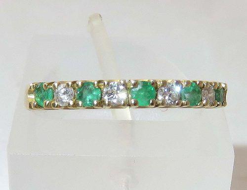 Anel De Ouro 18k750 Diamante Esmeraldas 1345