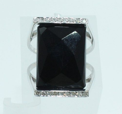 Anel De Ouro Branco 18k750 Diamantes Ônix 1310
