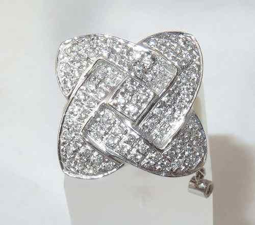 Anel De Ouro Branco 18k750 Diamantes Duque 1301