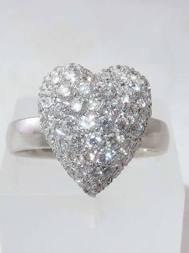 Anel De Ouro Branco 18k750 Coração Diamantes 1276