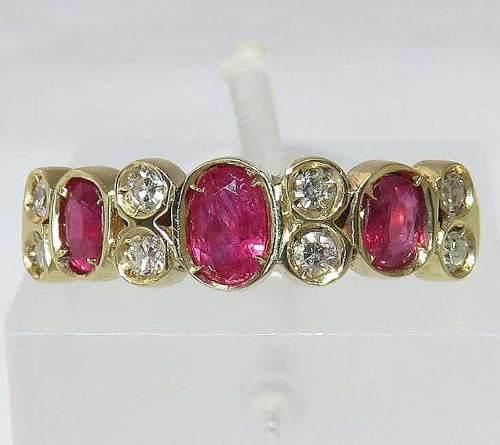 Anel De Ouro 18k750 Diamantes Rubis 1207